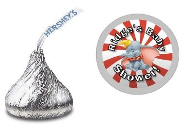 108 DUMBO PERSONALIZED HERSHEY KISS STICKERS LABELS BABY SHOWER PARTY FAVORS - Dumbo Baby Shower
