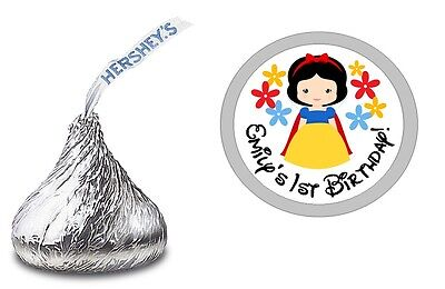 Snow White Birthday - 108 BABY SNOW WHITE CUSTOM HERSHEY KISS LABELS STICKERS BIRTHDAY PARTY FAVORS