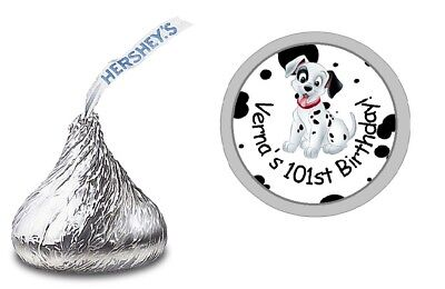 101 Dalmatians Party Supplies (101 DALMATIANS PERSONALIZED HERSHEY KISS LABELS STICKERS BIRTHDAY PARTY)