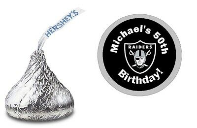 OAKLAND RAIDERS PERSONALIZED HERSHEY KISS LABELS STICKERS BIRTHDAY PARTY FAVORS - Oakland Raiders Party Supplies