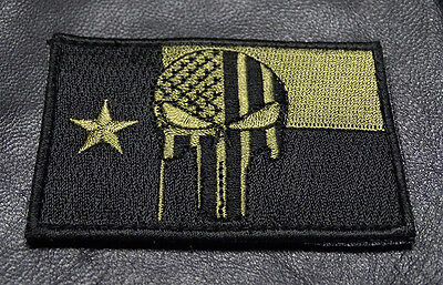 PUNISHER SKULL TEXAS FLAG EMBROIDERED  TACTICAL MORALE ARMY HOOK PATCH