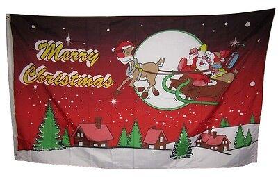 3x5 Merry Christmas Night Red Santa Sleigh Rough Tex Knitted