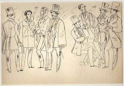 fashion ANTIQUE WOMEN'S and MALE bad set of'etude de on paper tracing