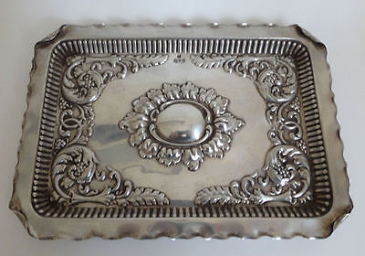 Victorian solid silver hallmarked antique tray Chester 1899 - 9.6 tr oz embossed