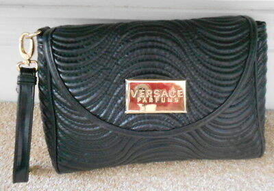 VERSACE Parfums Black Faux Leather Clutch Purse Hand Bag Detachable Strap Unused