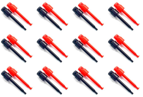 12 Pairs (24pcs.) Grabber Hook Clips Probe Solder Type for Test Probes VOM Meter