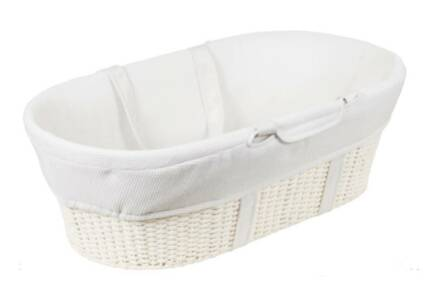 Moses Basket & Stand in White + Baby Bath Support