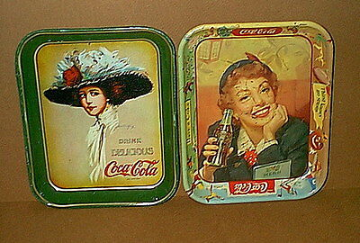 Lot of 2 Vintage COCA COLA Coke SERVING TRAYS - ***LOOK***