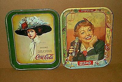 Lot of 2 Vintage COCA COLA Coke SERVING TRAYS - ***LOOK***