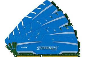 Crucial Ballistix 32GB Kit 8GB x 4 Sport XT DDR3 1866 MHz PC3-14900 CL10 Memory