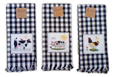 Set of 3 COW, PIG, CHICKEN Checked Applique Kitchen Towels by Kay Dee Designs