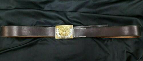 Handmade Leather Belt & Reproduction U.S. Military Federal Eagle Belt Buckle