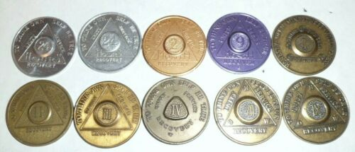 Lot of 10 Alcoholics Anonymous Sobriety Coins Tokens