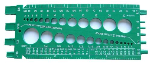 Nut Bolt Size & Thread Size Gauge Fractional and Metric StainlessTown Green