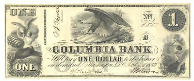 1852  1 The Columbia Bank  Washington D C  Issued Oct  28  1852 Unc  K3213