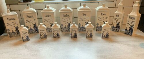 Vintage GMT Co. Germany Blue and White Canister Set 28 Total Pieces