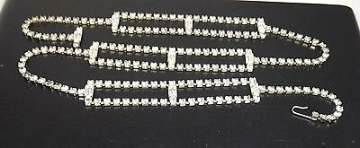 VINTAGE CRYSTAL RHINESTONE PRONG SET  SILVER TONE WOMEN BELT ACCESSORIES SMALL 1960's Womens Accessories Belt