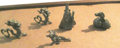 5 pieces Vintage Pewter Miniature Figurines Dragons and Wizard