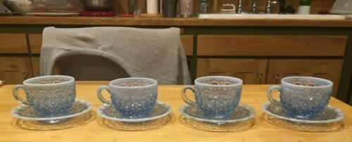 Four (4) blue opalescent lace edge Imperial