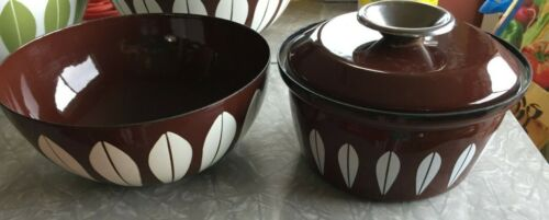 "Rare 8"" Catherine Holm Lotus Bowl & 7"" Pot & Lid  Brown and White Good Condition"