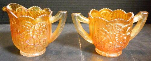 Vintage Embossed Pansies Iridescent Marigold Carnival Glass Creamer & Sugar Bowl