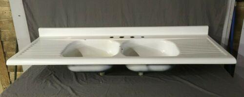 Vtg Mid Century White Porcelain Double Basin Drainboard Old Farm Sink 15-20E