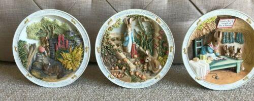 Set 3 Peter Rabbit Bradford Musical Plates Wall Plaques Beatrix Potter