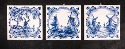 3 Genuine Delft-blue Hand Painted Tiles