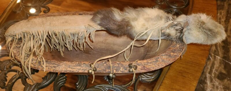 Vintage Native American Ceremonial Rattle With Leather, Fringe, Fur And Bells