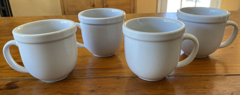 Set of 4 Cafeware by Tienshan White Porcelain 12 oz Mugs