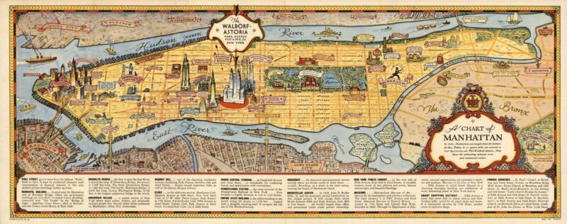 1936 pictorial map Manhattan NY New York by Waldorf Astoria POSTER 8874002
