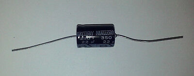22uf Axial Capacitors - Mallory 22uF (20uF Sub) 350V Electrolytic Capacitor Axial Leads USA Seller