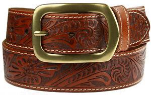 Western-Cowboy-Tooled-Genuine-Leather-Jean-Belt-1-5-8-wide-New-Black-Brown-Tan