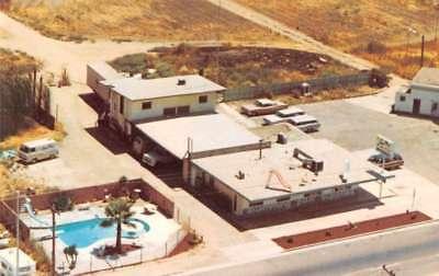 Visalia California aerial view Sun Play pool svc & supplies vintage pc Z42861