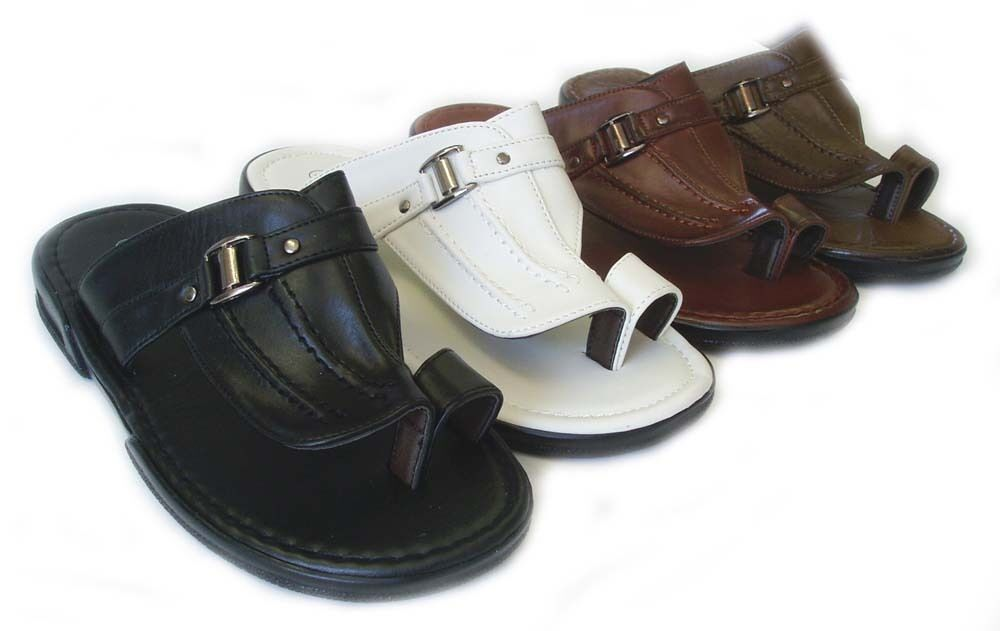 NEW FASHION MENS SHOES LEATHER SLIDES COMFORT FLAT TOE HOLD SANDALS  / 4 COLOR
