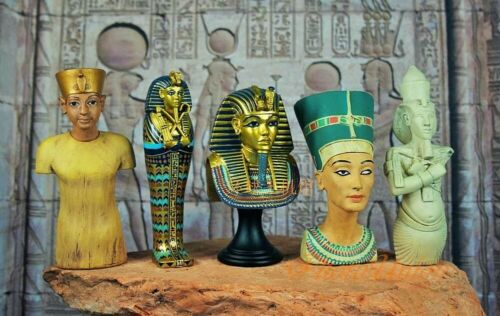 5 Pcs Ancient Egyptian Pharaonic Statues, Tutankhamun, Collective Antique, A30