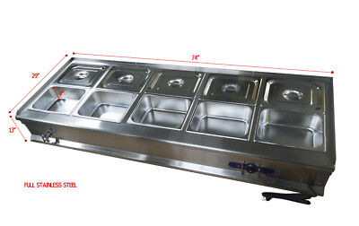 10-pan Bain-marie Buffet Food Warmer Steam Table Ten 12pans Lids Included