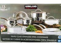 Kirkland Signature Costco 13 Piece Stainless Steel Cookware set