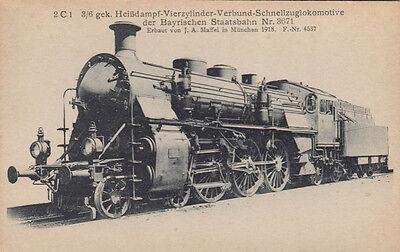 FOTOKARTE  CA.14X9 CM BAYR. STAATSBAHN SCHNELLZUGLOKOMOTIVE 1918 ERBAUT  (G1389)