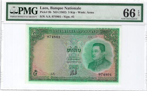 LAOS ND (1962) 5 KIP, P9b,  PMG GEM UNCIRCULATED 66 EPG