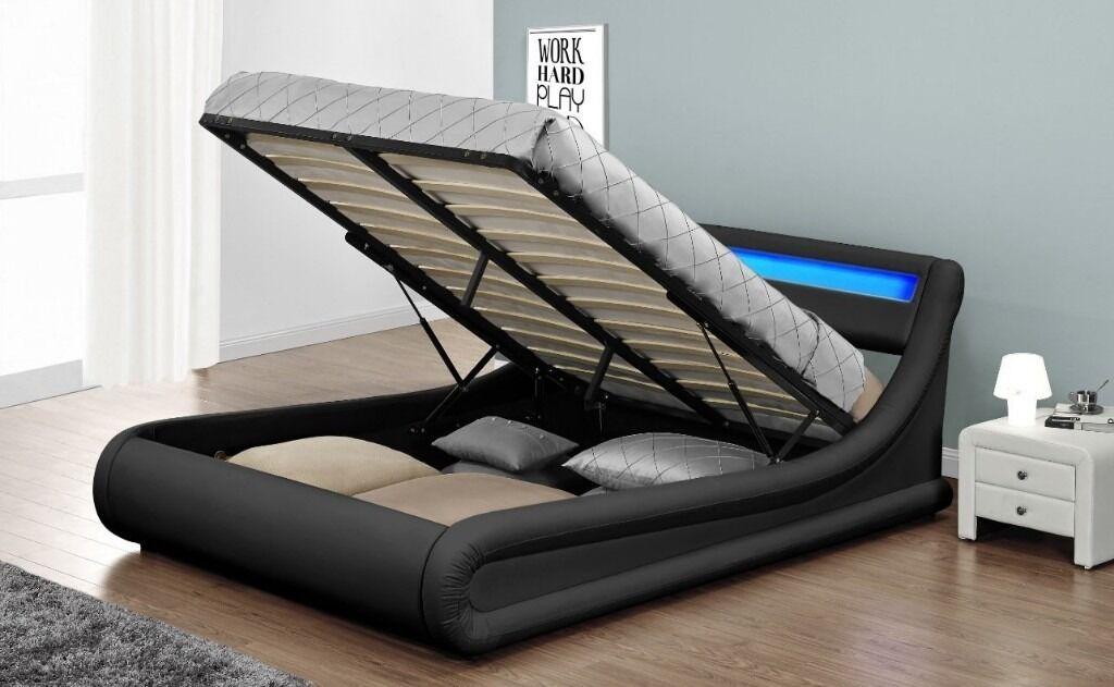 Stunning Designer LED Rio Ottoman Storage Designer Bed Frame 3 Colours 4ft6  Double 5ft King - Stunning Designer LED Rio Ottoman Storage Designer Bed Frame 3