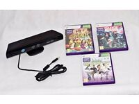Official XBOX 360 Kinect Sensor Black & 3 Game Bundle