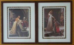 Pair of Edmund Leighton prints God Speed! and The Accolade