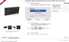 DELIVERED- Vibe Amp 1750W 1800W BLACKBOX BLACK MONO BASS 4 CAR AMP AMPLIFIER