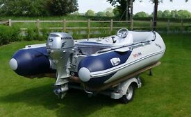 Exquisite Honwave T40 Inflatable Boat with Honda BF15 Electric Start 4 Stroke Outboard and Console