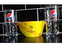 2 Pepsi glasses and a snack bowl set