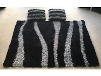 Dunelm Rug and Cushions - Black and Silver