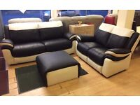 SCS Leo , 3+2 Seaters + Footstool , TWO-TONE Black & Cream Leather SOFA SUITE + FREE LOCAL DELIVERY
