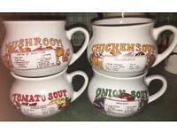 4 vintage soup mugs