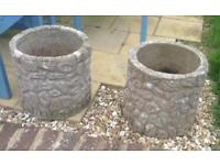 Pair of Large Stone Pots